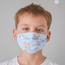 Маска для лица гигиеническая голубая детская (упак. 10 штук)