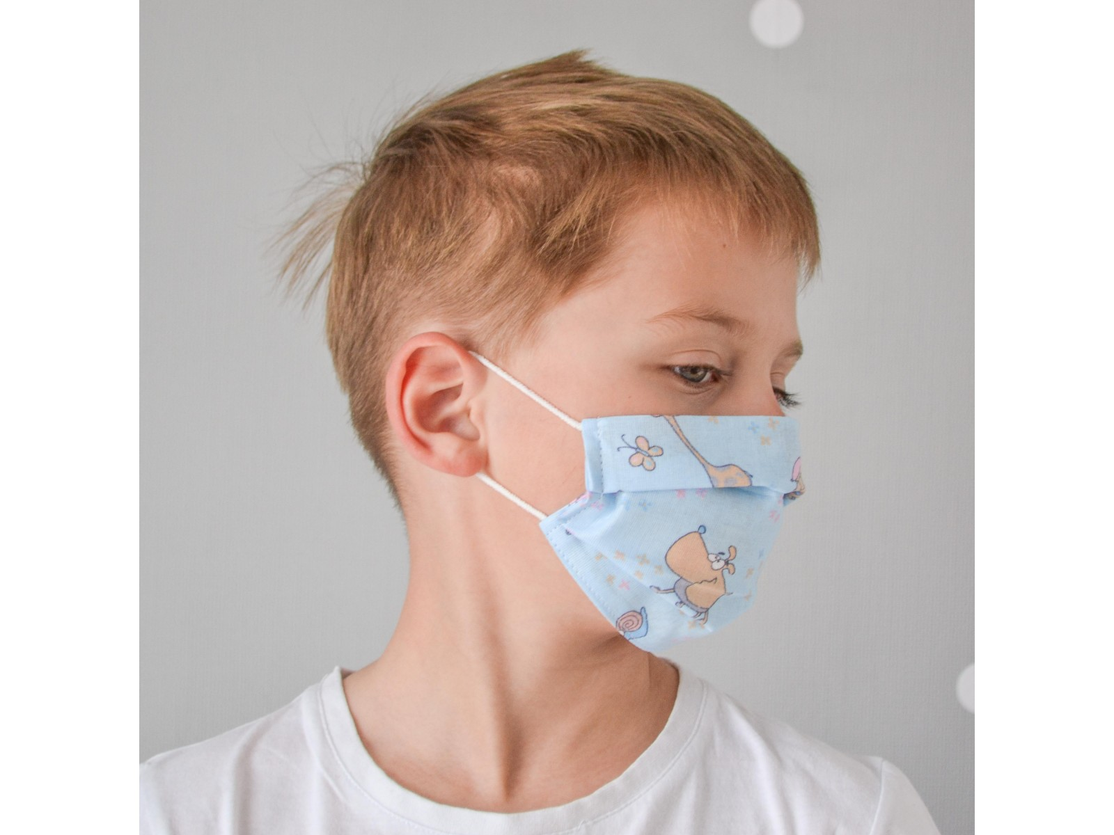 Маска для лица гигиеническая голубая с рисунком детская (упак. 10 штук)