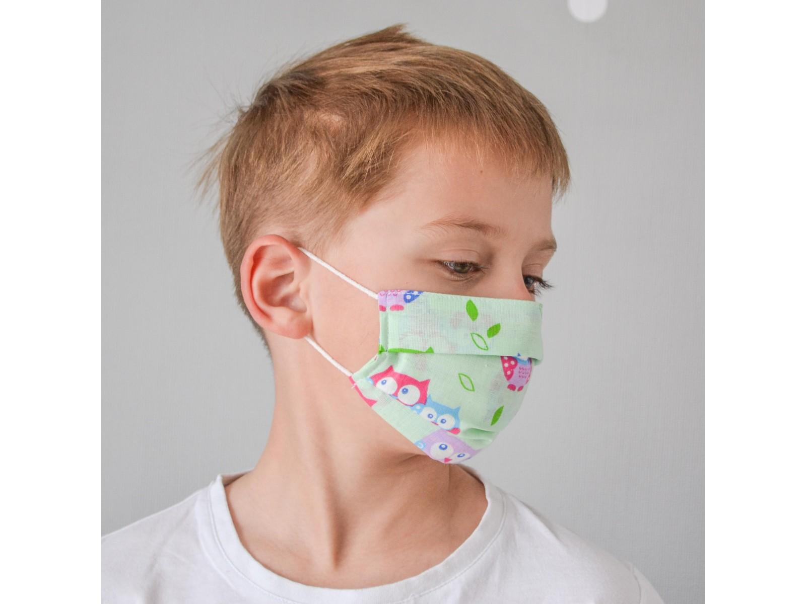 Маска для лица гигиеническая бирюзовая с рисунком детская (упак. 10 штук)
